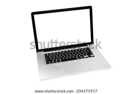 Laptop with white screen isolated on white background