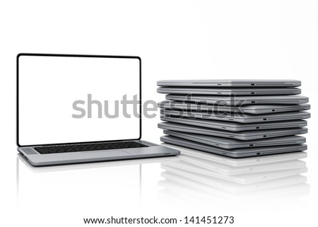 Laptops - Set of Gadget Isolated on White Background