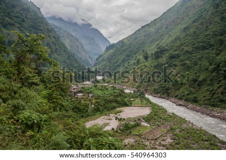 LAPUBESHI-NEPAL-OKTOBER 2013:view of the river valley Budhi Gandaki. Manaslu circuit trek.