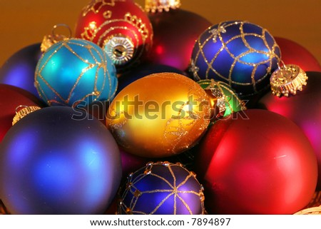 Large assortment of beautiful colorful Christmas ornaments.