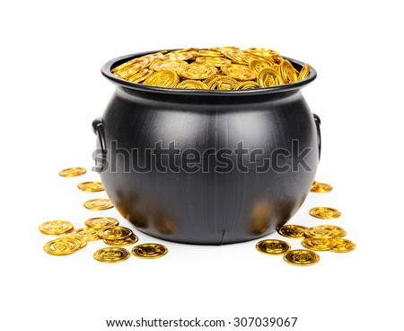 Large black pot filled with gold coins