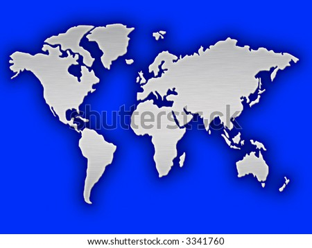 large brushed silver map of the world on a blue background
