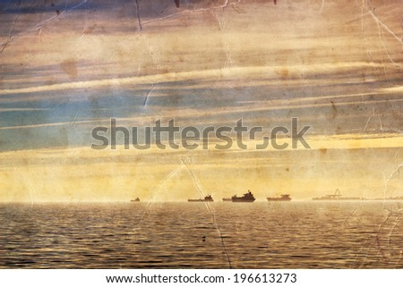 Large cargo ships sailing in still water, sunset, Retro photography