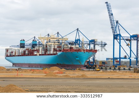 large container ship in harbor