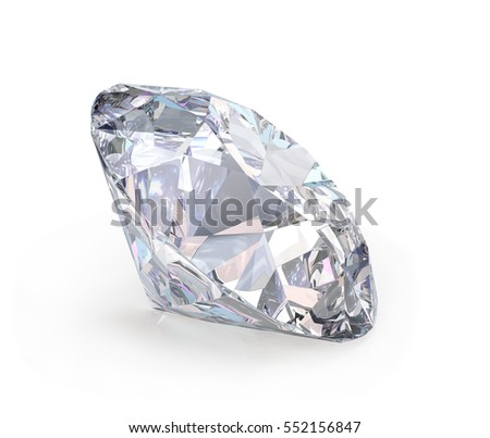 Large diamond jewel. 3d image. White background.