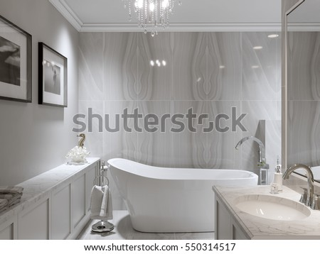 Large Furnished Bathroom Luxury Home Marble Stock Illustration