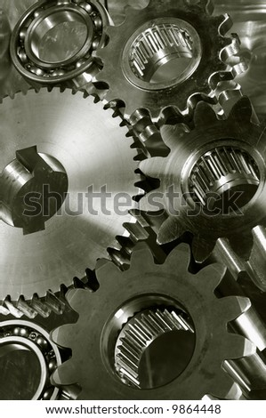large gears and bearings in a duplex deep bronze toning idea