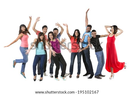 Large Happy group of Asian friends dancing. Isolated over white background