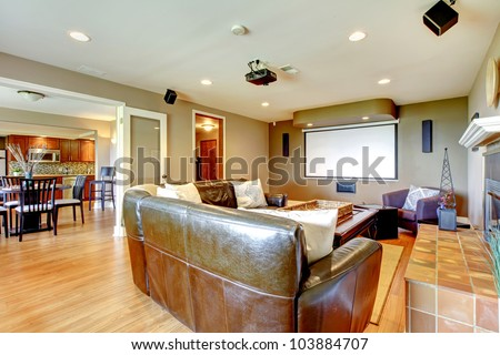 Large Living Room With Brown Walls And Leather Sofa Projector Screen