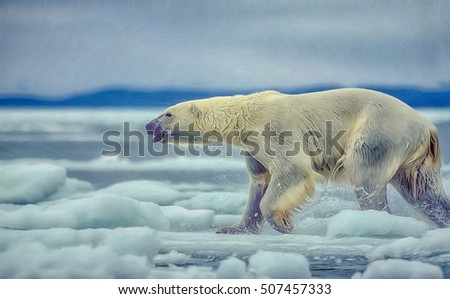 Large male polar bear running on ice floe in Canadian Arctic.Digital oil painting