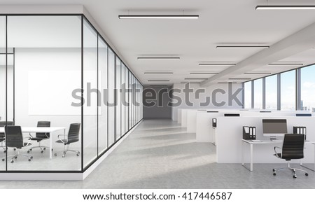Large office interior with New York city view and blank whiteboard. 3D Rendering