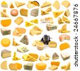 large page of cheese collection on white background - stock photo