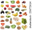large page of fruit and vegetable assortment on white background - stock photo