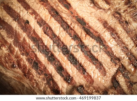 Large piece of fresh beef meat prepared on a grill pan. Toned.