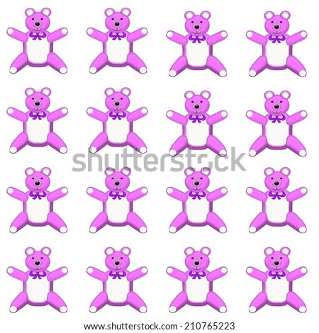 Seamless Pattern Bear Cubs Flowers Bees Stock Vector ...