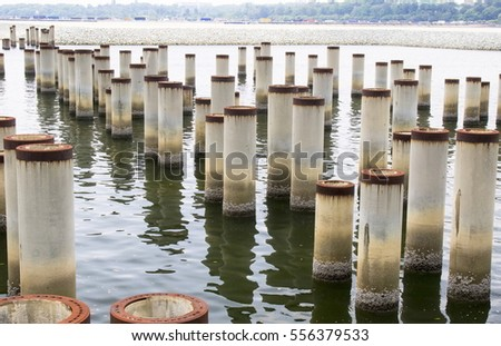 Large pipes nailed to the sea in Johor Bahru Malaysia