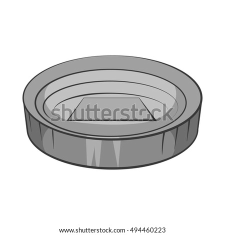 Large round stadium icon in black monochrome style isolated on white background. Championship symbol  illustration