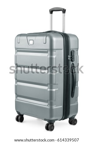 Silver Plastic Suitcase On Wheels Isolated Stock Photo 111704021 ...
