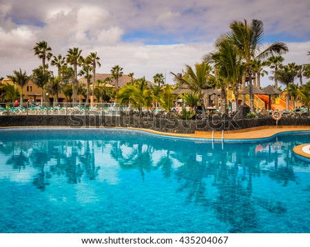 Large swimming pool in a resort in Fuerteventura, Canary Islands, Spain. Picture taken 11 April 2016