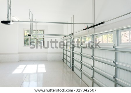 Large three car garage interior