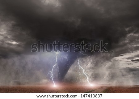 Large tornado with lightning