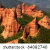 Las Medulas red mountains, Leon, Spain, UNESCO - stock photo