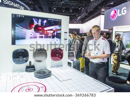 LAS VEGAS - JAN 08 : The LG booth at the CES show held in Las Vegas on January 08 2016 , CES is the world's leading consumer-electronics show.