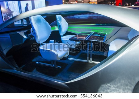 LAS VEGAS - JAN 08 : The Panasonic Automotive Concept car at the CES Show in Las Vegas, Navada, on January 08, 2017. CES is the world's leading consumer-electronics show.