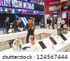 LAS VEGAS - JANUARY 11 : Booth of Stereo headphones at the CES show held in Las Vegas on January 11 2013 , CES is the world's leading consumer-electronics show - stock photo