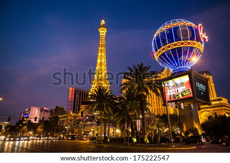 LAS VEGAS - JUL 17: The Paris Las Vegas hotel and casino on Las Vegas Strip on July 17, 2013 in Las Vegas, Nevada.