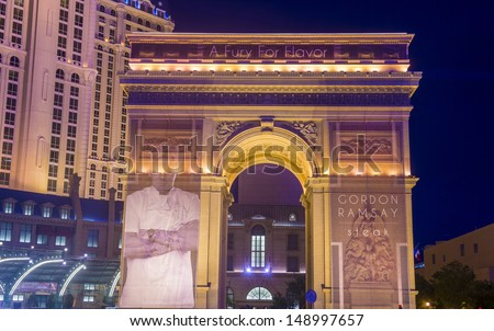 LAS VEGAS -JULY 31: The Paris hotel and casino on July 31, 2013 in Las Vegas, Nevada,  The Paris hotel opened in 1999 and features a replica of the Eiffel Tower.