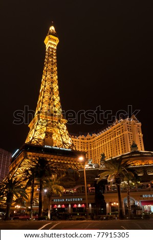 LAS VEGAS - MARCH 21: Eiffel tower restaurant on March 21, 2011 in Las Vegas. A half scale, 541-foot (165 m) tall replica of the Eiffel Tower was opened in 1999.