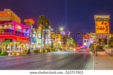LAS VEGAS - MARCH 18 : View of the strip on March 18 2015 in Las Vegas. The Las Vegas Strip is an approximately 4.2-mile (6.8 km) stretch of Las Vegas Boulevard in Clark County, Nevada.