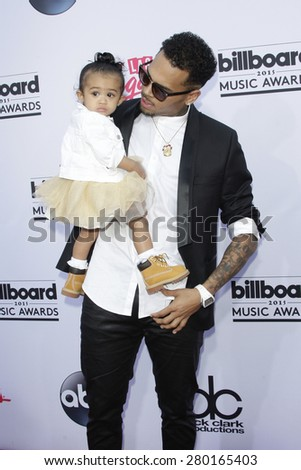 LAS VEGAS - MAY 17: Chris Brown, daughter Royalty at the 2015 Billboard Music Awards at the MGM Grand Garden Arena on May 17, 2015 in Las Vegas, Nevada.