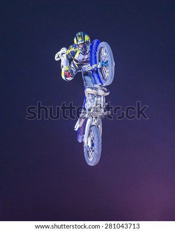 LAS VEGAS - MAY 16 : unidentified rider giving FMX motorcross demonstration as part of the Helldorado days rodeo in Las Vegas on May 16 2015