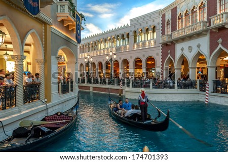 LAS VEGAS, NEVADA - JUNE 19: Gondola trip indoors Venetian hotel in Las Vegas on June 19, 2009. The resort opened in 1999 and built at a cost of $1.5 billion.