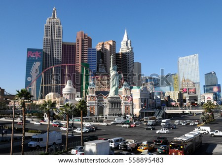 LAS VEGAS, NEVADA - NOV 17, 2011: New York - New York Hotel & Casino. New York New York is a luxury hotel and casino located on the Las Vegas Strip. Las Vegas, Nevada.