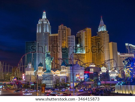LAS VEGAS - NOV 17 : New York-New York Hotel & Casino in Las Vegas on November 17 2015 , This hotel simulates the real New York City skyline and It was opened in 1997.