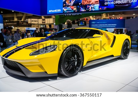 Las Vegas, NV - Jan. 9, 2016:  Ford Motor Company displays the new GT-600 hp supercar at the 2016 2016 Consumer Electronics Show (CES).