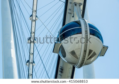 Las Vegas, NV - May 3, 2016: The 520-foot diameter High Roller is the world's largest observation wheel and a dominant landmark in Las vegas.