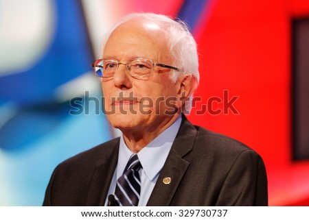 LAS VEGAS, NV - OCTOBER 13 2015: (L-R) Democratic presidential debate features candidate U.S. Senator Bernie Sanders at Wynn Las Vegas in first CNN Democratic Debate.
