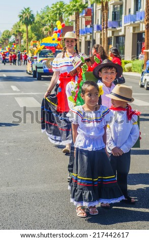 LAS VEGAS - SEP 13 : A Participants at the Fiesta Las Vegas Parade held in Las Vegas ,Nevada on September 13 , 2014 ,the annual Fiesta Las Vegas celebrating heritage of Latinos in Soutren Nevada