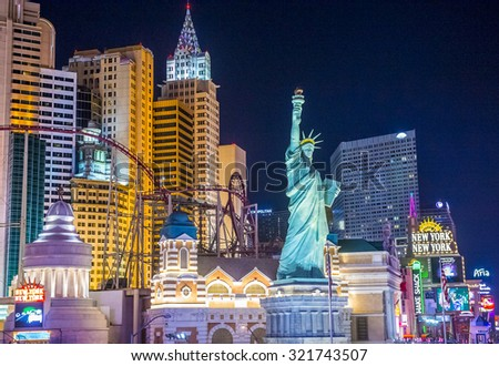 LAS VEGAS - SEP 03 : New York-New York Hotel & Casino in Las Vegas on September 03 2015 , This hotel simulates the real New York City skyline and It was opened in 1997.