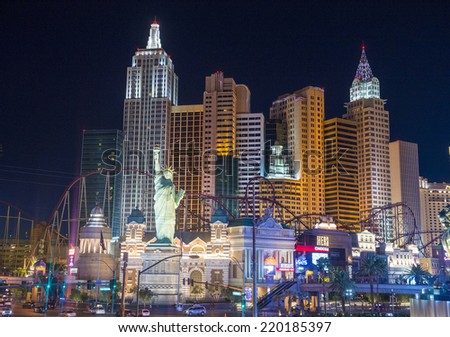 LAS VEGAS - SEP 18 : New York-New York Hotel & Casino in Las Vegas on September 18 2014; This hotel simulates the real New York City skyline and It was opened in 1997.