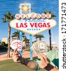 Las Vegas Sign - Poker Cards and Money - stock photo