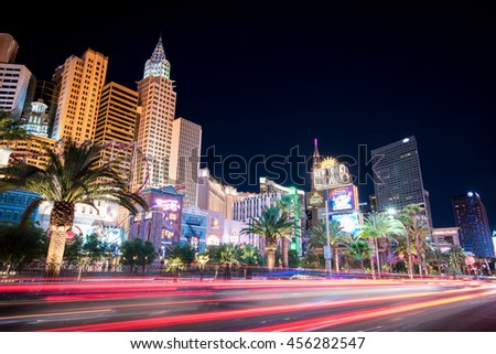 LAS VEGAS / UNITED STATES OF AMERICA - JULY 20 2016 - Cityscape of Las Vegas. Las Vegas Strip