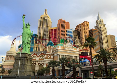 LAS VEGAS USA JUL 8 2015: Replica of Statue of Liberty and New York New York hotel and casino one of the top tourist destinations in the world. About 40 million people visiting the city each year.