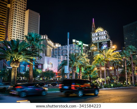 LAS VEGAS, USA - SEPTEMBER 08: Unidentified tourists in the strip on September 08, 2015 in Las Vegas, USA. It is a major resort city known primarily for gambling, shopping, fine dining and nightlife.