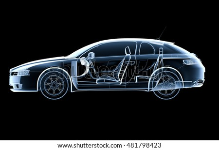Lateral x-ray car on a black background - 3D illustration