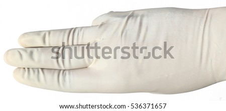 latex glove hand gesture isolated on white